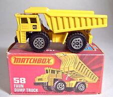 "Matchbox SF Nr.58C Faun Dump Truck mit ""CAT"" Aufdruck + Box"