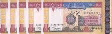 SUDAN 2000 DINARS 2002 P-62a LOT X5 UNC NOTES */*