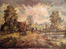 Wünnenberg Peinture à L'Huile Paysage avec Haus et Vache Expressionniste Ancien