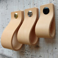 LEATHER PULL,LOOP HANDLE FOR DRAWERS,CABINETS,DOORS -NATURAL 3mm VEG TAN LEATHER
