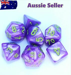 Dice 7 Piece set D & D Purple & Green Polyhedral Pathfinder Dungeons & Dragons