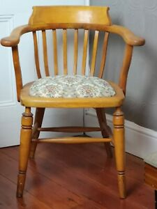 Art Deco Captain's Chair Smokers Bow Beech Wood Project Upcycle Solid Joints