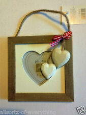 2 x Hanging Photo Frame Wooden Shabby Chic Natural Wood with 2 White Hearts