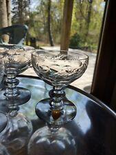 Tiffin Glass 7 Aperitifs & 2 Sherbets Champagne Glasses
