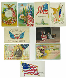 ANTIQUE PATRIOTIC AMERICAN FLAG POST CARDS, CANCELLED, LOT B 1900-1920