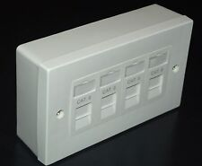 PACK 4X Cat6 RJ45 Quad Face Plate & 2G BackBox (4 Way Network Ethernet Socket)