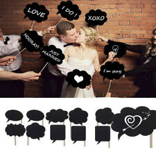 10 Pcs Wedding Card Board w/ Wooden Stick Photo Props Writable  Decoration DIY