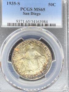 1935-S San Diego Commemorative Half Dollar—PCGS MS65 - Incredible Toning!!!!
