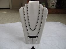 "VINTAGE LONG 52"" SILVER TONE DISC CHAIN NECKLACE & DANGLING CLIP ON EARRINGS SET"