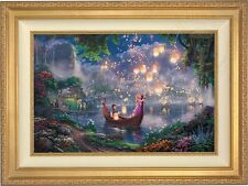 Thomas Kinkade Tangled 18 x 27 Le Gallery Proof Canvas (Gold Frame) Disney
