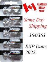 5 PC Energizer 364 / 363 SR621SW SR621b Silver Oxide Watch Battery batteries