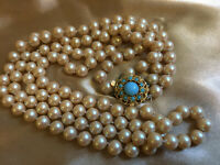 VINTAGE Long 2 Double Strand Faux Pearl Necklace Turquoise Beaded Clasp #9