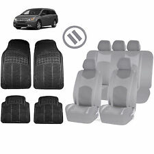 ALL GRAY HONEYCOMB SEAT COVERS AIRBAG READY SPLIT BENCH MATS FOR VANS 1540