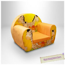 Zebra Yellow Animal Childrens Kids Comfy Foam Chair Toddlers Armchair Seat Chair