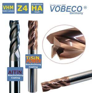 VOBECO VHM Schaftfräser Z=4 Ø1-20 mm HPC Fräser TiSiN+AlTiN KURZ oder LANG