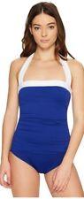 Ralph Lauren Swimwear SLIMMING FIT One Piece Ocean Blue W/ WHITE Size 8 LR7DK11