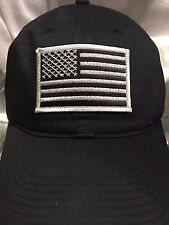 Nike Golf Unstructured Black Twill Cap Dad Hat With Grey American Flag Patch