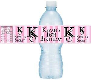 12 Victoria Secret Bridal Shower Birthday Party Water Bottle Labels Sticker Pink