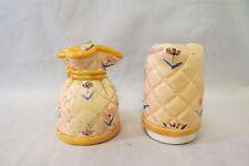 Vintage Cozy Cover Salt & Pepper Shaker Set Hand Painted Quilt Design Japan
