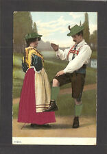 EMBOSSED POSTCARD FROM SWITZERLAND:  DANCING COUPLE WITH APPLIED SILK CLOTHING