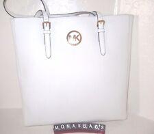 Michael Kors Jet Set Large Optic White NS Saffiano Leather Travel Tote Bag  $278