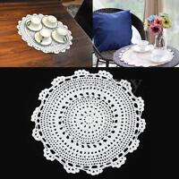 33CM Dia Pure Cotton Handmade Crochet Lace Doily Placemat Round Flower Table Mat