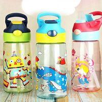 New Children's Cartoon Straw Cup Portable Kids School Water Bottle 500ml HDD