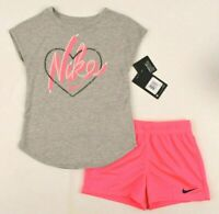 NIKE  Girls 2 Piece Shorts & Tee Set Outfit, Heather Gray & Pink, Size Girls 6X