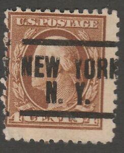 USA Scott #  503 New York New York  NY Precancel ( 503-2)