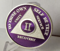 Purple & Silver Plated 2 Year AA Chip Alcoholics Anonymous Medallion Coin Two