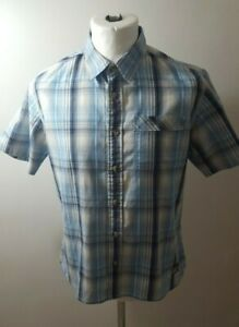 Berghaus Short Sleeved Blue Checked Polyester Blend Hiking Shirt Size - Small.