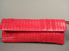dc9cbc04e5758 BOTTEGA Veneta Red Pink Basket Woven Leather Fold Over Clutch Bag Purse  Handbag