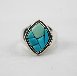 Carolyn Pollack Sterling Silver Turquoise Inlay Ring - Size 13
