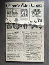 Publicite Chicorée Leroux Extra 23me grand concours 1933 liste des primes
