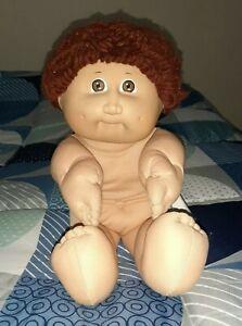 Vintage Cabbage Patch Kid ~ Boy Doll, Auburn Loops, Brown Eyes, Black Signature