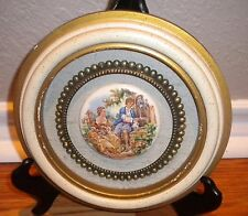 Vintage Round Framed Ceramic Tiles Boucher Signed Transfer Courting Couple