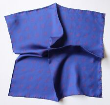 """Silk pocket square in blue with red Antlers 38cm / 15"""" square. Hand rolled"""