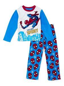 Spiderman Pajamas Size 6-7, 8, 10-12 Boys Winter Set Fleece S, Medium, Large NEW