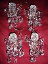 "Christmas Tree ornaments acrylic angel wings mandolin 4 x 3"" NWOT set of 4"