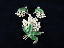 Vintage Crown Trifari Enameled Simulated Pearl Rhinestone Brooch & Earrings