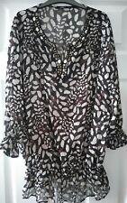 Bm collection size 22 Black/brown animal print semi sheer gypsy blouse vgc