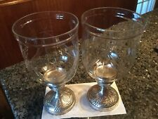 """12"""" SILVER COATED METAL BASE / LARGE GLASS HURRICANE CANDLE HOLDERS"""