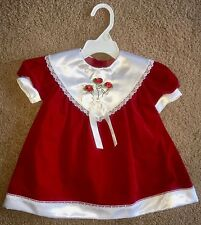 Girls Red Velvet Satin Dress Size 18 months Holiday Christmas Twins Valentines