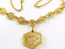 Collier Edelstahl Halskette Anhänger Gold Vergoldet Kette Design durchbrochen