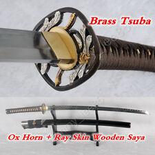 T10 Clay Tempered Japanese KATANA Full Tang Samurai Sword Battle Ready Sharp
