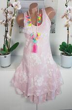 Kleid Sommer Ibiza Strand Lagenlook Blumen Hippie süß rosa weiß 36 38 40 %