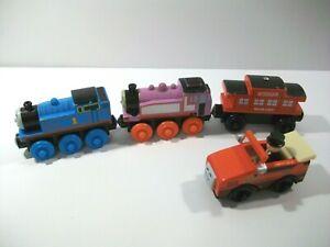 4 THOMAS THE TRAIN WOODEN RAILWAY TRAIN CARS WINSTON ROSIE SODOR CABOOSE TOPHAM