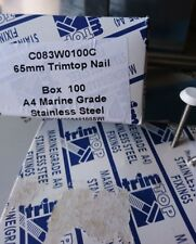 5  X BOXS 100 SWISH WHITE TRIMTOP NAILS 65MM STAINLESS STEEL, A4 MARINE GRADE