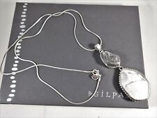 """NEW Silpada Sterling Silver Druzy Magnesite """"TWO TO TANGO Pendant Necklace N2922"""