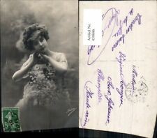 459846,Frau Haarschmuck Blumen Edwardian Girl Fashion Mode Photo Postcard